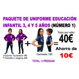 1.1 Paquete nº 1 uniforme para Educación Infantil colegio Padre Manjón