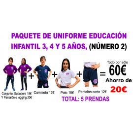 1.2 Paquete nº 2 uniforme para Educación Infantil colegio Padre Manjón