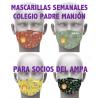 1 CONJUNTO DE 4  MASCARILLAS PERSONALIZADAS COLEGIO PADRE MANJÓN PARA SOCIOS DEL AMPA